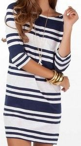 Timeless Women's Fashion Trends: Nautical Style, Summer Dresses, Nautical Stripes, Navy Stripes, Cute Dresses, Fashion Trends, Navy Blue, Gold Accessories