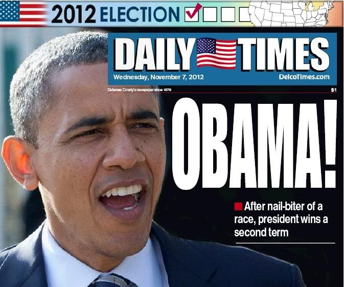 Barack Obama re-elected,vows 'best is yet to come' - delcotimes.com Nov. 7, 2012