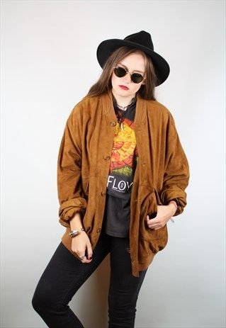 VINTAGE 90S RETRO TAN BROWN OVERSIZED SUEDE BOMBER JACKET