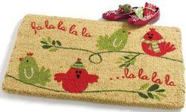 Four Calling Birds Coir Doormat by Tag. $25.00. Stylish, functional, and eco-friendly. The ideal doormat for winter time. Bleached coir with pigment dyes. Shake or brush clean; best maintained under a protected area. Dimensions: 30W x 18D x 1H inches. This natural colored coir mat with red and green birds chirping fa la la la la will enliven your front door and add a festive look to your Christmas porch decor. Coir mats are biodegradeable and easy to maintain by shaking ...