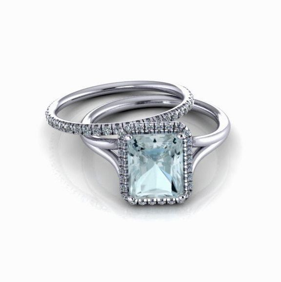 14K White Gold Aquamarine Engagement Ring with Diamonds