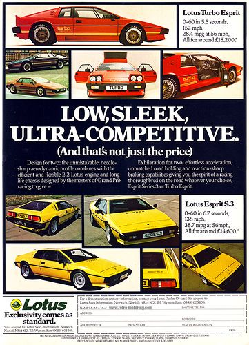Nice vintage auto advertisement for Lotus.