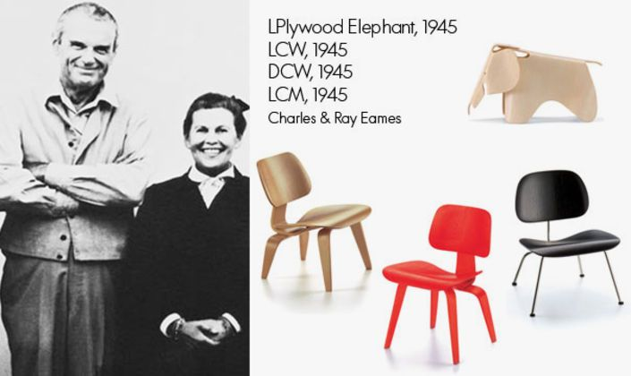 The Eamses were the first ones to build chairs made out of plywood that conformed to the human body. The Plywood Chairs as well as the Eames Elephant are part of this collection.