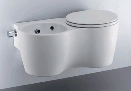 The Ideal Standard 'Small +' Twin is a toilet and bidet integrated into one suspended installation. This European toilet/bidet design would be a great space saver for small bathroom...