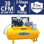 Industrial Plus Series 120 Gal. 10 HP 1-Phase 2-Stage Horizontal Stationary Electric Air Compressor