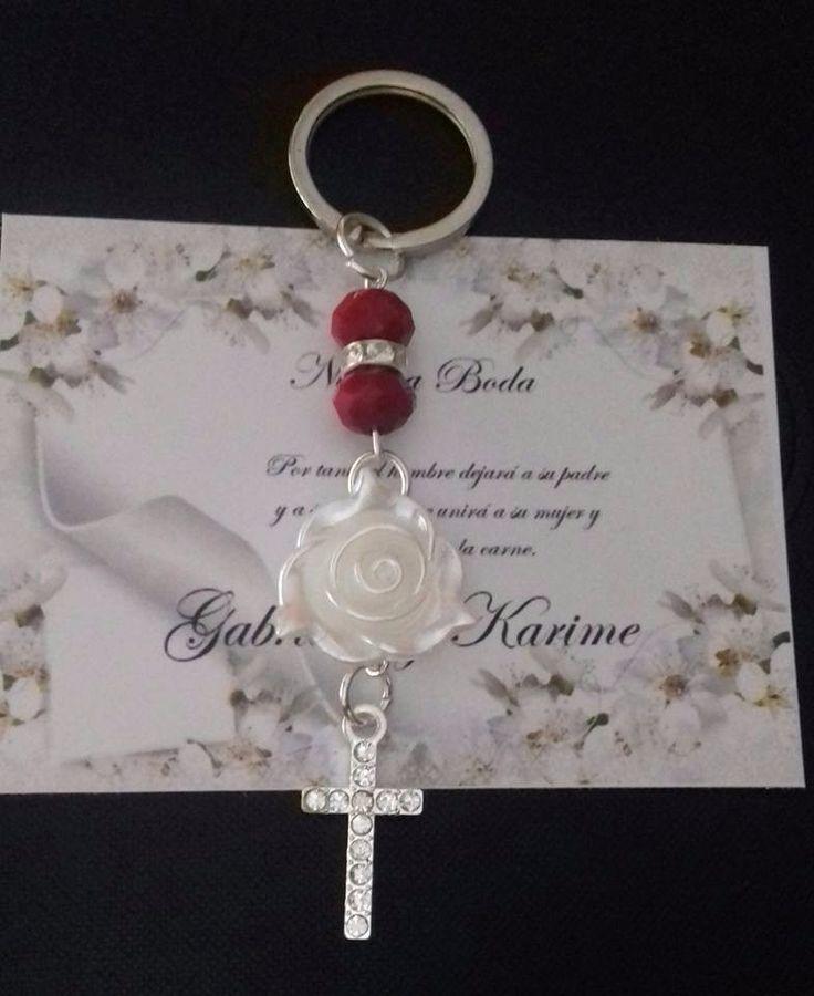 elegante llavero, con rosa, para boda tarjeta gratis