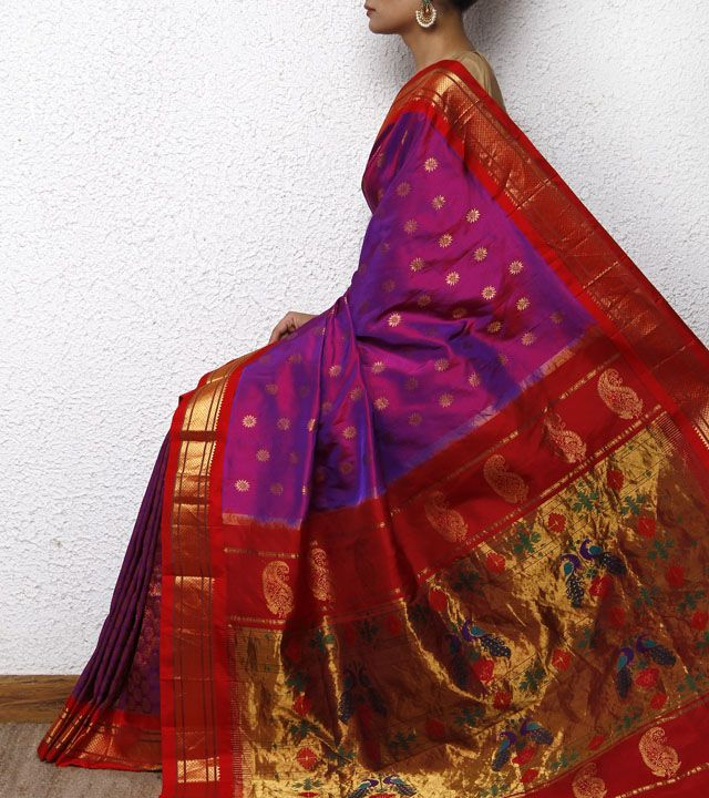 Purple & Pink Paithani Silk Saree