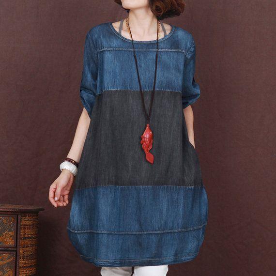 Blau Korea lose Denim Skirt Frauen Plus Size von Showcottonstyle