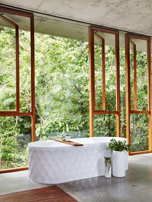 Bath with glass windows