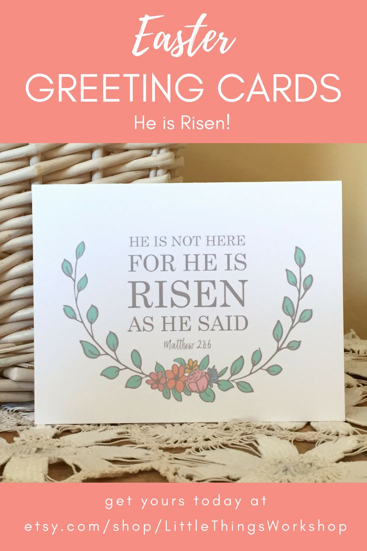 He Is Risen - Easter Card - He is Not Here For He Is Risen As He Said - Matthew 28 - Easter Religious - Christian Greeting Card - He Lives