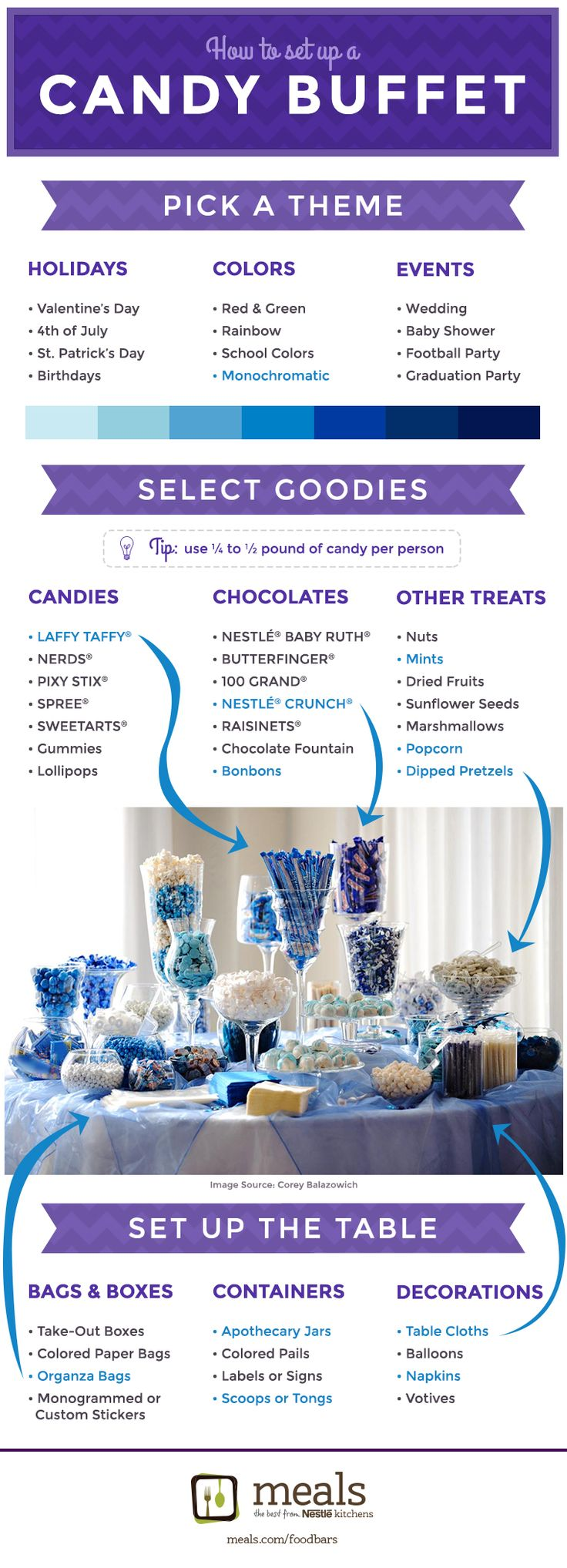 Candy Buffet |Meals.com - Mix 'em, match 'em or melt 'em. However you display your candy, it's a food bar that's sure to be a sweet success. Make your own candy treats with our recipes or enjoy the sheer simplicity of setting out store-bought candy for an instant party! #partyideas #candybuffet #candybar #candy