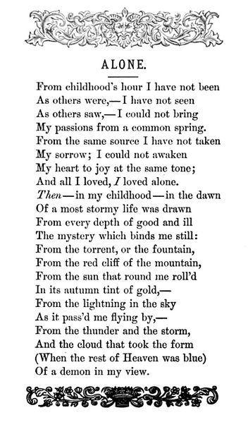 """Alone"" -- Edgar Allan Poe~I love this poem, it describes me very well."