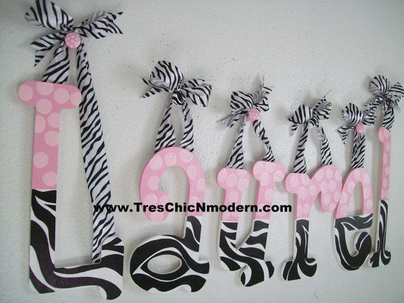 I like the contrast zebra and pink polka dot name