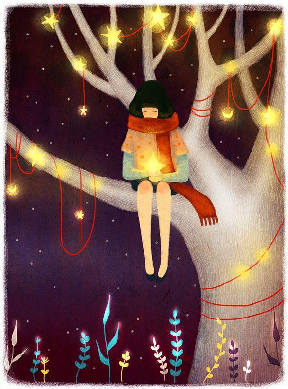 E me ne sto qui, con questa stella in mano. Una luce che ho acceso io e a cui ho dato il tuo nome: illusione. (La Mosca e la Farfalla) Illustrazione di Galina Khamzina.