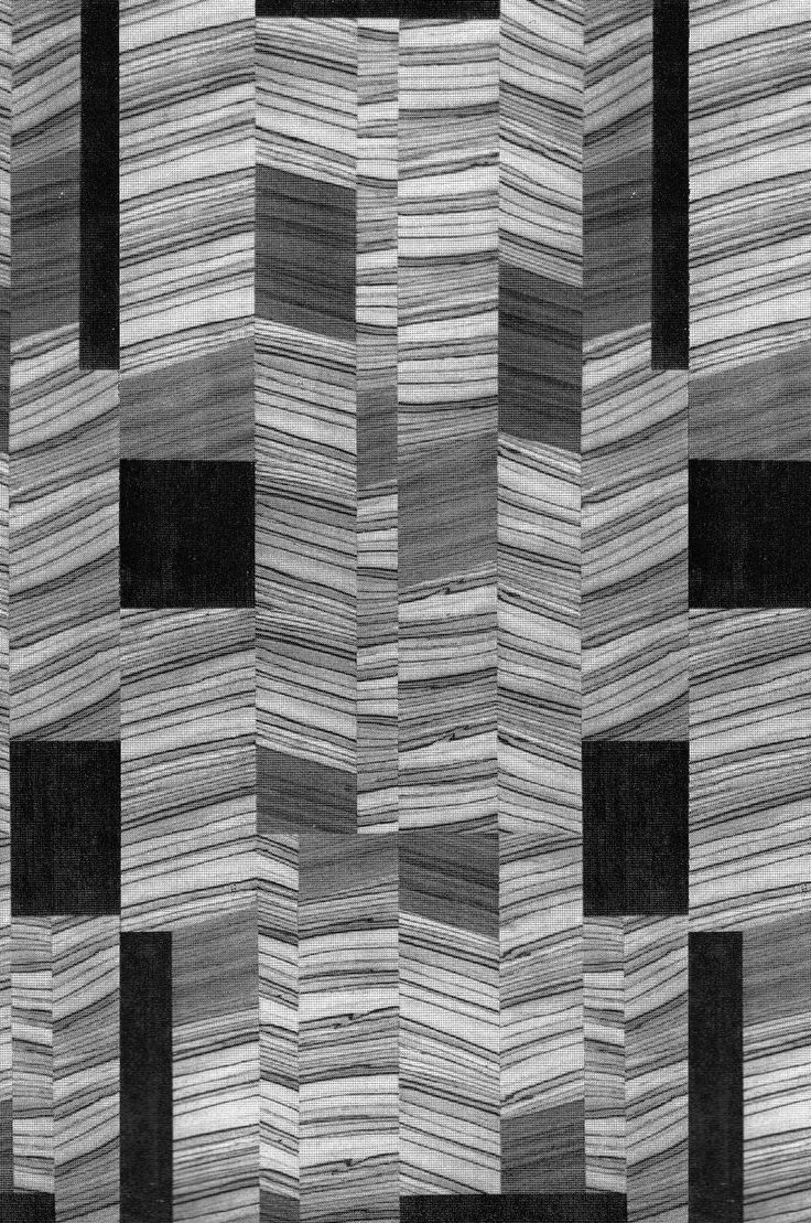 Wood Veneer Pattern, 1960s. This could be inspiration for a 'string' bargello style quilt, with some random solid squares and stripes.