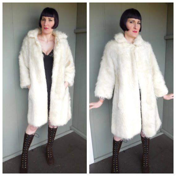 Vintage 1970's Shaggy White Faux Fur Coat  size Medium