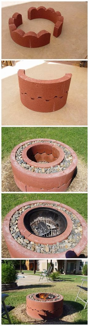 "$50 fire pit using concrete tree rings need: 14 ""' dia grill, 4 sec of 14"""" tree ring,6 sec of 24"""" tree ring, 2 cubic feet of small stone. The ring is about 2-5 dollars a piece."