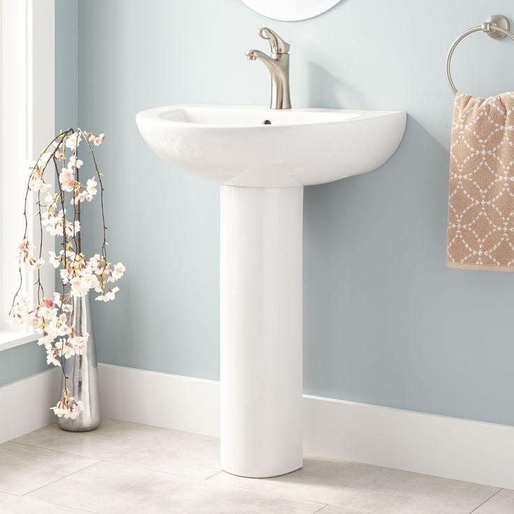 62 best bathrooms images on pinterest bathroom sinks for Floating pedestal sink