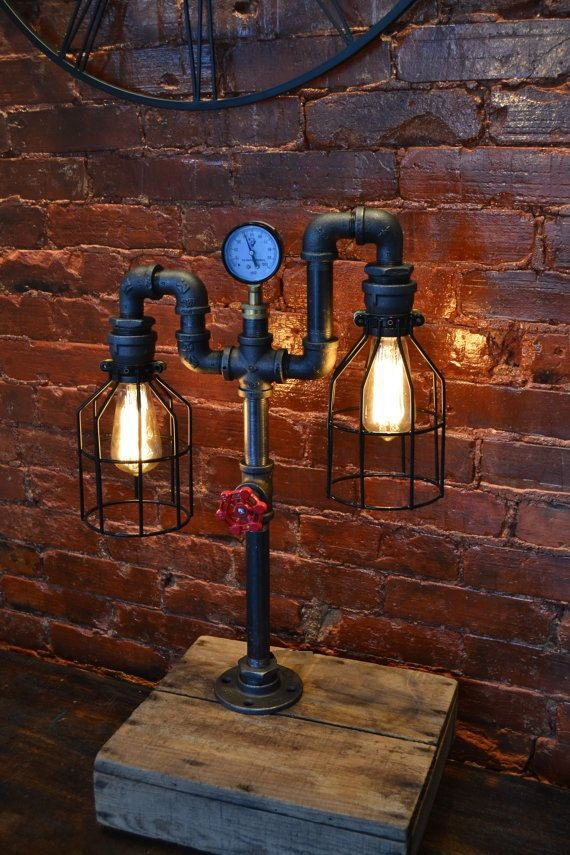Industrie Rohr Lampe Pipe Light Table Lamp von WestNinthVintage