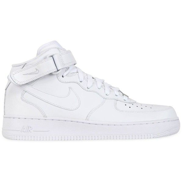 NIKE Air Force 1 Leather High Top Sneakers - White (83 AUD) ❤ liked on Polyvore featuring men's fashion, men's shoes, men's sneakers, shoes, sneakers, nike, shoes // socks, white, nike mens sneakers and mens leather sneakers