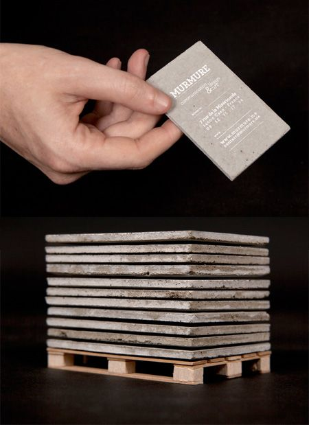 Concrete Business Cards (the tiny pallet is a nice touch).