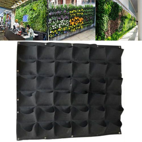 36-Pocket-outdoor-Vertical-Greening-Hanging-Wall-Garden-Plant-Bags-Wall-Planter