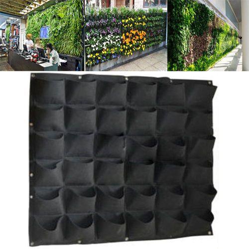 36-Pocket-outdoor-Vertical-Greening-Hanging-Wall-Garden-Plant-Bags-Wall-Planter