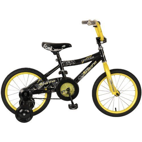 """Piranha Boy's Decoder Bike (Black/Yellow, 16-Inch) by Piranha. $97.99. Piranha Decoder 16"""" Boys' Bike is the perfect first Bike for youngsters age 3 - 6! With its easy pedal'n tires and training wheels, your lil' pedal-pusher will be tearing up the road in no time! Measures 38 x 7 x 19"""" h.; 70 lb. weight capacity; """"Easy pedal'n"""" 16"""" street tires roll over a wide array of surfaces; Steel-reinforced training wheel brackets; Steel wheels; Comfortable padded seat; Coaste..."""