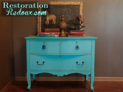 Restoration Redoux- Turquoise Antique Dresser · Dresser FurnitureFurniture  ProjectsDiy ... - 27 Best Pretty Painted Dressers Images On Pinterest Furniture Redo