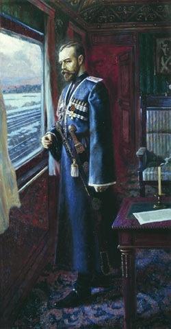 Painting by V. Alexeev ~ Nikolay II before his abdication.