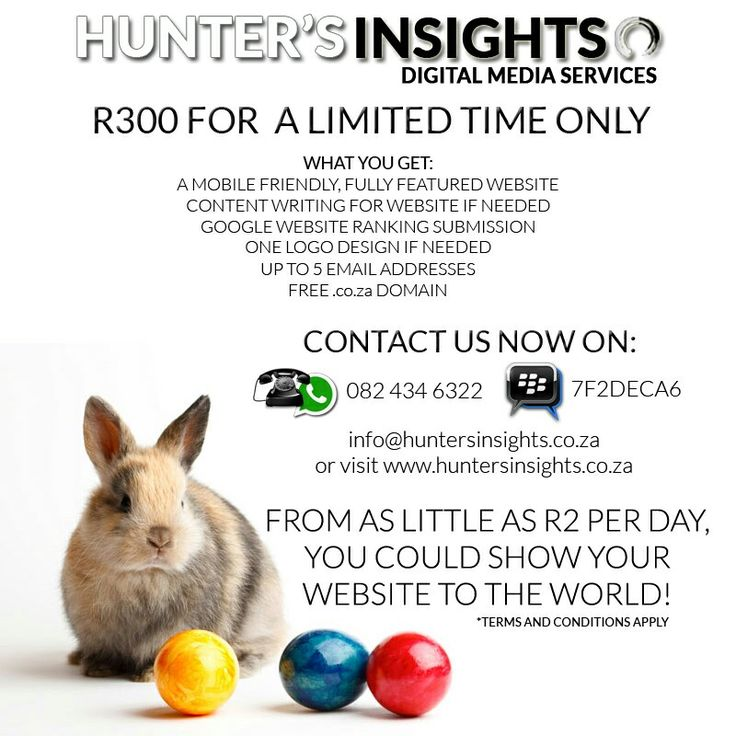 Here's your Easter Egg!  For a limited time only, Hunter's Insights is offering you a fully featured, mobile friendly #website for only R300. Ts & Cs apply.  For more info email us on info@huntersinsights.co.za or visit us at http://huntersinsights.co.za