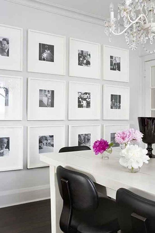 bilder und fotos an der weißen wand im esszimmer - dekoidee für elegante…