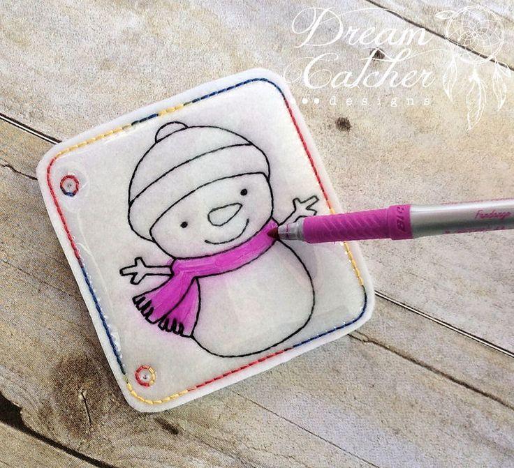 ITH Snowman Felt Coloring Page Embroidery Design | Dreamcatcher Designs