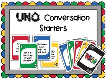 This card game follows the rules of UNO (R) by Mattel, but is customized for speech therapy by featuring conversation starters.Each of the 112 cards has a conversational topic to spark an interaction between groups. These would be great to use in speech therapy, social skills groups, counseling, or in other settings that target pragmatics and conversation skills.Make sure to print these on card stock and laminate them for added durability.If you like this resource, please leave some…