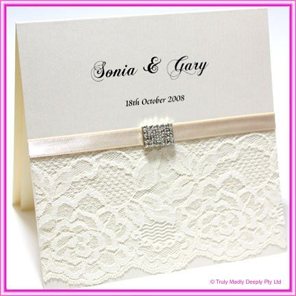 DIY Invitations Lace : Do It Yourself Wedding Invitation   Lace Diamante  Rectangle MeshComplete DIY Invitation Kit By Truly, Madly, Deeply.