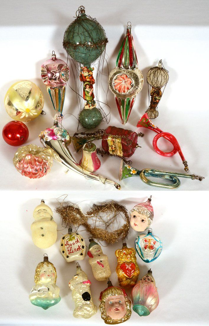 Antique glass Christmas ornaments.