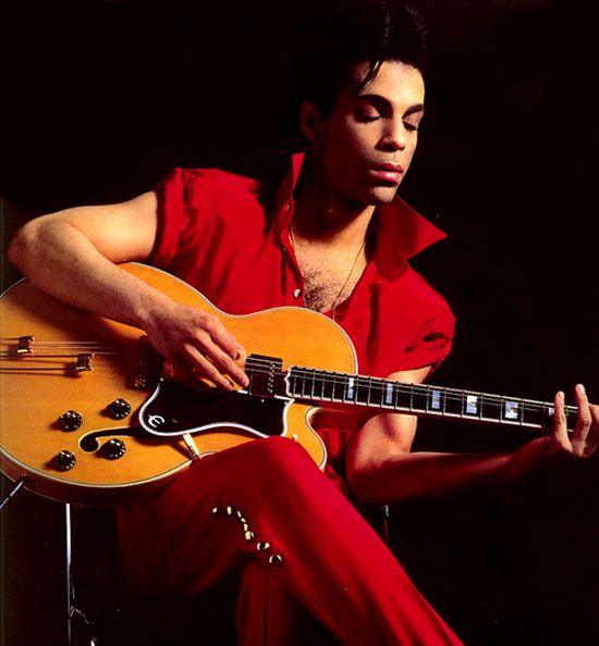 """Prince quietly playing acoustic electric guitar. He has produced ten platinum albums & thirty Top 40 singles. #cSw:) - 4 5 6 STRINGS - http://www.pinterest.com/claxtonw/4-5-6-strings/ - Beautiful portrait of Prince Rogers Nelson (born 1958 in Minneapolis - changed his name 4 times) is a MOST POPULAR RE-PIN, https://www.pinterest.com/DianaDeeOsborne/ddo-most-popular-re-pins/ - American musician had wide fame in 1980s with """"1999"""" & Purple Rain. PR was also title of a film starring the music..."""