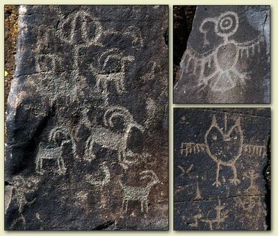 """Both petroglyphs (scratched into the rock) and pictographs (painted on) are viewed along the path to """"She Who Watches"""".  This photo shows colors often used in this area by early artists. Black from charcoal, white from ash (Mazama Ash according to guide) and red from iron oxide. Red figure on left looks like a salmon."""