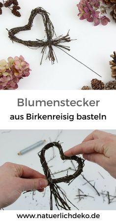 Blumenstecker aus Birkenreisig basteln
