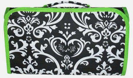 DAMASK Black & Green Floral Tri-Fold Hanging Cosmetic Bag Makeup Case Travel