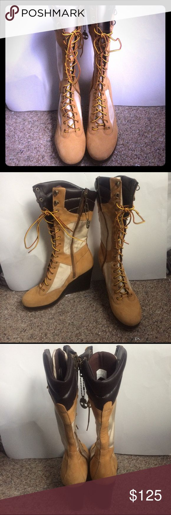 Timberland Knee High Wedge Boots Only worn once! Excellent condition, fit true to size. Timberland Shoes Heeled Boots
