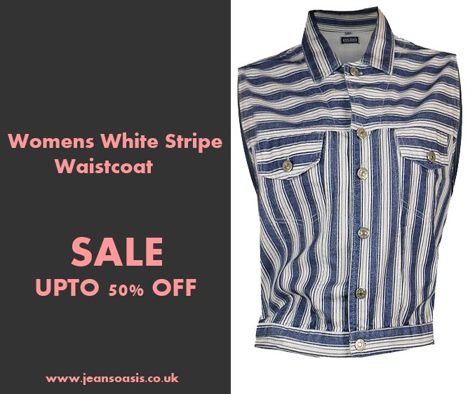 Womens Cotton Twill Navy and White Stripe Waistcoat. #vintage #waistcoat #streetwear #clearancesale #outfitoftheday