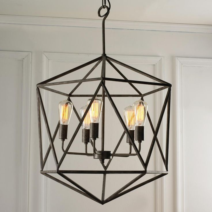 Large Prism Chandelier                                              With geometric flair, this modern industrial chandelier draws attention. Multi-faceted, literally and figuratively, shape transcends design genres.