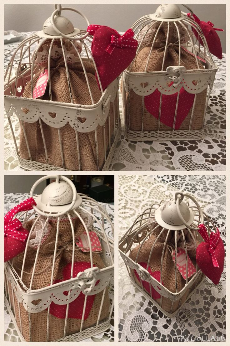 Gabbietta decorativa Shabby Chic porta - sacchetto di Iuta porta biscotti - Idea regalo di Natale Home Made by Rossella&Co.