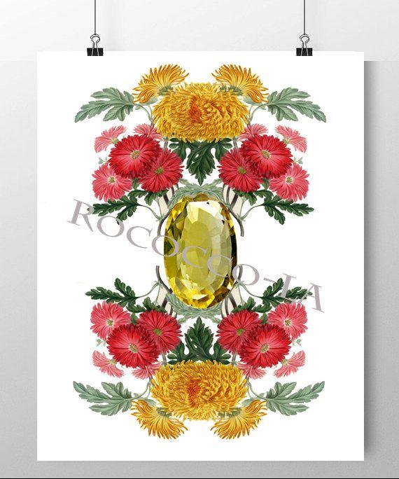 Pierre de naissance & Print fleur par RococcoLA sur Etsy