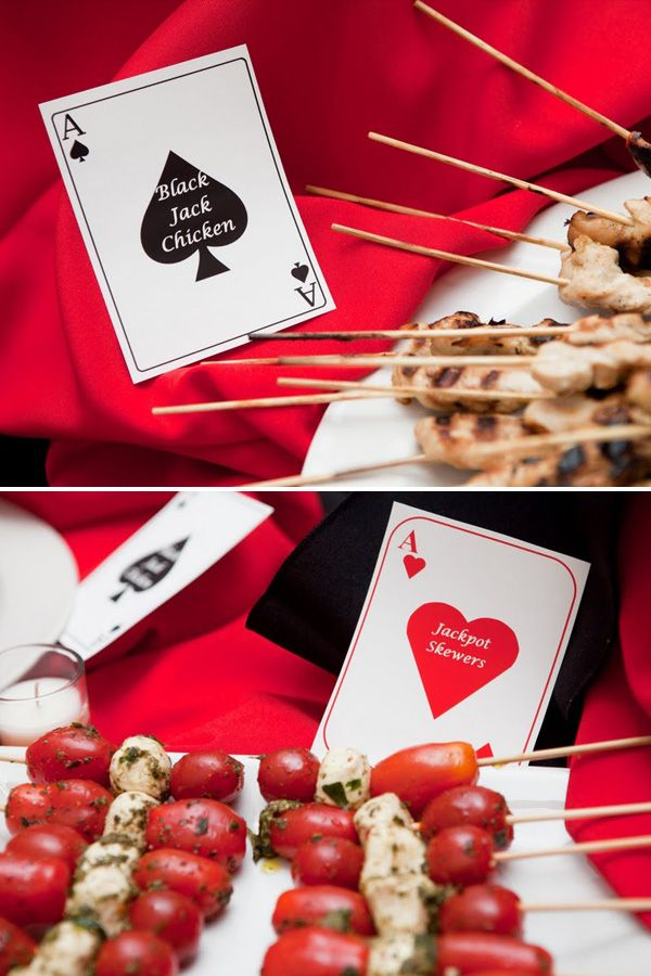 Love the foods being labeled with playing card theme!