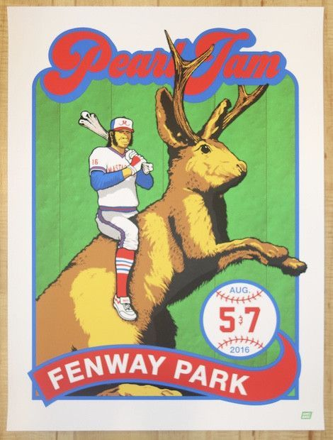 2016 Pearl Jam - Boston II Silkscreen Concert Poster by Ames