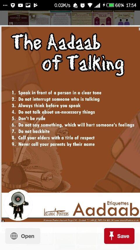 Adab of talking