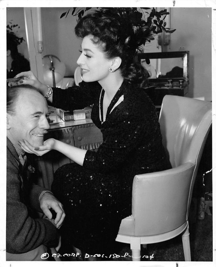 """JOAN CRAWFORD & ROLAND YOUNG on the set 1942 """"They All Kissed The Bride"""" photo"""