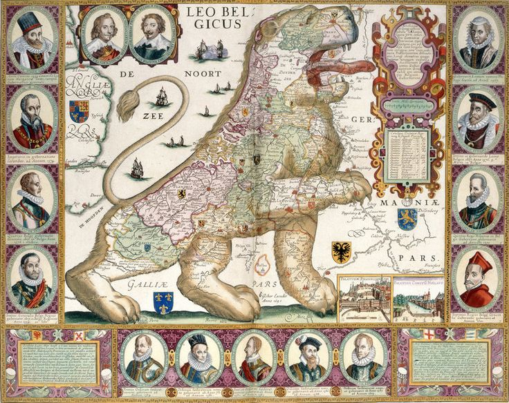 Leo Belgicus by Nicolaes Visscher ~ Map of the Netherlands, showing 17 states in the shape of a lion. Originally produced in Amsterdam, 1600-1750.